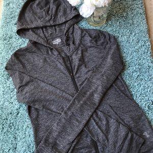 Aritzia zippered hoodie in heather gray